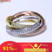 Wholesale triple wedding ring set resale online - Triple Circles Gold Rose Gold Silver Ring Three Colors Luxury Jewelry Silver Pave CZ Ring Women Wedding Finger Rings Gift