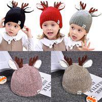 kız başlıklar fotoğrafları toptan satış-DHL 5 Renk Çocuklar Kış Şapka Noel Isıtıcı Antlers Örme Beanie Bebek Kız Erkek Fotoğraf Prop Caps