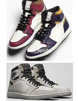 daim violet chaussures femmes achat en gros de-2019 Nouveau SB x jordan 1 Defiant 1 Haute Cour OG Violet Chaussures De Basket-ball En Os Clair Femmes Hommes 1s SB Sports Sneakers