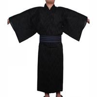 Men Japanese Samurai costumes Kimono Jinbei Home Wear Loose Cotton Black Yukata Traditional Clothing Pajamas Nightgown Robe
