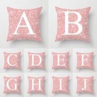 Wholesale valentine pillow case resale online - 26 Letters Pillow Case sequin Cushion pillow Cover Pillowslip Bedding decor valentines gift Sofa Home car Decor cm FFA1579