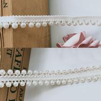 işlemeli dantel kesimi toptan satış-1 Yard Inci Boncuklu Kenar Dantel Şerit Grogren Bant Trim 1/2 inç Beyaz Işlemeli Dikiş Craft Düğün Gelin Elbise Kanat Kemer Aksesua ...