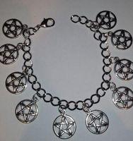 ingrosso braccialetti pentagrammi-Pentacle Charm Bracelet Vintage Argento Wiccan Charm Infinity Pentagram Beads Bracciale Bracciale Cavigliere Gioielli Accessori regalo donna