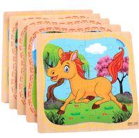 ingrosso bacino del fumetto-16pcs legno modello Puzzle Blocks Giocattoli Riconoscere Animali Traffico classici strumenti educativi giocattoli di intelligenza di sviluppo per i bambini BY2-011