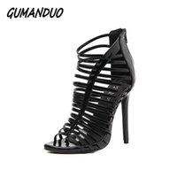 zapatos de vestir estrechos de las señoras al por mayor-Vestido Gumanduo nuevas mujeres gladiador tacones altos sandalias zapatos mujer peep toe recortes banda estrecha Ladies Party Stilettos de boda 35-40