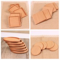 Wholesale wood coaster holder for sale - Group buy NEW Wood Coasters Wooden Wooden Heat Insulated Pad Tea Cup Pads Insulated Drinking Mats Teapot Table mat cup holder T2I5297