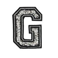 ingrosso cappello nero del rhinestone-G Lettera Hot Fix Strass Patch Sew Iron On Alfabeto Badge Ricamato Appliques Nero Per Borsa Jeans Cappello T Shirt FAI DA TE
