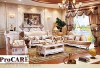 antike wohnzimmer möbel-sets großhandel-italienische blaue Stoff Sofa setzt Wohnzimmermöbel, antiken Stil Holzsofa Barockmöbel von Foshan Markt