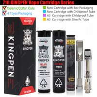 ingrosso fondere i germogli-710 KINGPEN Vape Cartucce King Pen 510 Vaporizzatore 0.5 1.0ml Ceramic Dual Cotton Coils Tubo Childproof Packaging A3 KP Flavor Stickers Tank