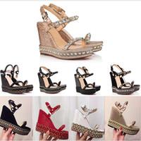 sandalias de tacón con brillo plateado al por mayor-Diseñadores Plataforma de fondo rojo zapatos de tacones altos Sandalias con cuña Zapatos de alpargata Mujeres Tacón alto Sandalias de verano Plateado purpurina Sandalia de cuero