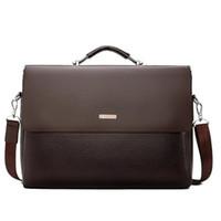 sacos mensageiro homens marrom venda por atacado-Sacos de marca dos homens de negócios maleta de luxo mensageiro bolsas masculinas bolsa para laptop escritório preto bolsas de couro marrom homens maleta