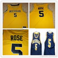 chaleco de baloncesto amarillo al por mayor-Chaleco barato de Jalen Rose 5 Michigan State Basketball Jersey camiseta Amarilla personalizada cualquier tamaño, número y nombre cosido de alta calidad XXS-6XL