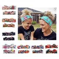 Wholesale mothers hair accessories for sale - Group buy 2pcs Mother and daughter bow print headband adult newborn boys girls rabbit ear cotton hair bands fashion hair accessories MMA1295