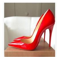 botas altas de color nude al por mayor-Tarifa de envío gratis nuevo estilo sexy Lady Nude charol punta del dedo del pie zapatos de tacones altos botas bombas 120mm 100mm cuero genuino