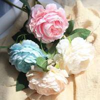 einzelne pfingstrosen großhandel-Hochzeit Pfingstrose Bouquets Künstliche Seidenblume für Home Party Garten Dekorationen Gefälschte Pflanzen Einzigen Kopf Pfingstrose Braut Hand Bouquet