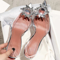 glasabdeckung für blume großhandel-Mode Frauen PVC Slingbacks Sandalen Glitzernde Verzierungen Glas Pantoletten Schuhe Kristall Blumen Klar High Heels Hausschuhe