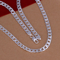 Wholesale snake chain 925 6mm resale online - Fine Sterling Silver Necklace XMAS New Silver MM inch quot Inch Curb Chain Necklace For Women Men Fashion Jewelry Link Italy