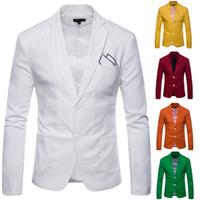 modelos de botones al por mayor-Envío gratis modelos de explosión de color sólido chaqueta del color del caramelo de los hombres casuales Blazers moda 2 botón escudo 9612