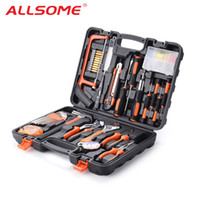 Wholesale wrench knives set resale online - ALLSOME Hand Tool Set General Household Repair Hand Tool Kit with Plastic Toolbox Storage Case Socket Wrench Screwdriver Knife