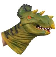 dinosaurierpuppen großhandel-Triceratops Tier Handpuppe Spielzeug Mund Simulation Tier Dinosaurier Kopf Silikon Puppe Handschuhe Für Kinder Geschenk