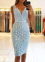 Wholesale gold sash for prom dress resale online - 3D Floral Cocktail Party Dresses for Occasions robe de mariée V neck Sleeveless Knee length Mermaid Short Prom Dresses