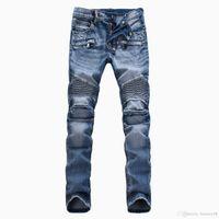 зимние цветные джинсы оптовых-Новое поступление Модный бренд Man WinterSpring светлые брюки-мотоциклетные штаны мужские Slim Straight джинсы черный синий белый