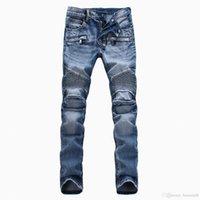 jeans de color invierno al por mayor-Nueva llegada Marca de moda Hombre WinterSpring pantalones de motocicleta de color claro pantalones vaqueros rectos delgados de los hombres negro azul blanco