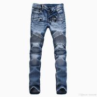 ingrosso jeans color invernali-Nuovo marchio di moda di arrivo Uomo WinterSpring pantaloni di colore chiaro pantaloni da moto da uomo Slim Straight jeans nero blu bianco