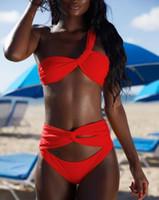 um ombro bikini swimsuit venda por atacado-2019 Nova Cor Sólida Biquíni Dividir Swimsuit One-Ombro Sexy Backless Swimsuit Dividir Swimsuit das Mulheres