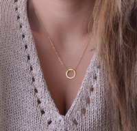 collar de oro círculo de calidad colgante al por mayor-Más caliente Moda Casual Personalidad Círculo Lariat Colgante Collar de Color Oro de Alta Calidad Simple Gargantilla Collares Mujeres