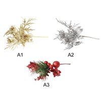 Wholesale flower lights stems for sale - Group buy Glitter Artificial Flower Stems For Xmas Tree Christmas Wreath Ornaments Wedding Party Holiday Decor