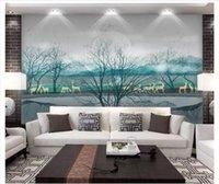 ingrosso porcellana moderna di pittura-Carte da parati personalizzate 3D carta da parati per decorazioni domestiche Foto di New China Modern Ink Artistic Conception Forest Elk Landscape Background Wall Painting