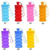 bouteilles d'eau pliantes achat en gros de-Bouteille d'eau pliante créative gel de silice pli gobelet télescopique sport tasses gobelets de camping randonnée randonnée Drinkware 400 ml ZZA1106
