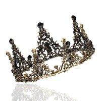 volle runde kronen großhandel-Schwarz Strass Barock Volle Runde Tiara Kristall Kronen Vintage Königin Pageant Braut Hochzeit Haarschmuck Zubehör Prom