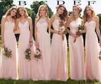 vestido para invitados verano al por mayor-2020 barato Blush largo vestido de dama de Boho del verano de la gasa vestido de dama de Beach Party Prom riza el huésped de la boda Vestidos por encargo
