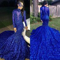 vestido de manga de organza flor preta venda por atacado-Luxo Cauda Longa Azul Royal 2019 Meninas Negras Sereia Vestidos de Baile De Alta Neck Mangas Compridas Frisado Flores Artesanais Vestidos de Festa À Noite