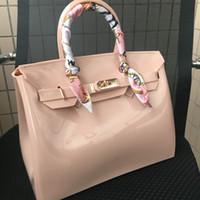 ingrosso borse in plastica in pvc-JELLYOOY 30cm donne di grandi dimensioni di plastica gelatina borse designer ragazze moda Candy sacchetti di spalla di colore PVC impermeabile Borse da spiaggia