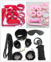 бдсм комплект комплект оптовых-Секс-игрушки 7Pcs Бондаж Kit Set Фетиш Игры для взрослых БДСМ Ролевая игра Наручники Кнут Веревка с завязанными глазами Мяч кляп сдержанность наручники игрушка