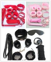 top kırbaç toptan satış-Seks oyuncak 7 Adet Esaret Kiti Seti Fetiş Yetişkin Oyunu BDSM Roleplay Kelepçe Kırbaç Halat Körü Körüne Topu Gag Restraint Kelepçe Oyuncak