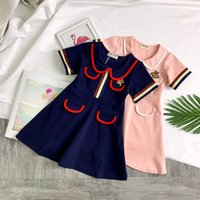 babys samt kleider großhandel-Samtstoff Bodenkleider Kinderbekleidung Kinder Prinzessin Rock Spitze Horn Sleeve Stickerei weiches Kleid Mädchen Baby