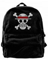 ein stück luffy schwarz weiß großhandel-One Piece Luffy Flag Weiß und Rot Mode Leinwand designer rucksack Für Männer Frauen Teenager College Travel Daypack Freizeittasche