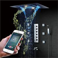 luces impermeables de baño al por mayor-La música de Bluetooth de ducha LED de luz de techo de la ducha de la música a prueba de agua Cascada altavoz ducha de lluvia brumosa duchas de baño 60 * 80cm