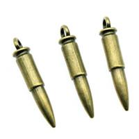 amuletos antiguos al por mayor-50 unids 3D Gun Bullet encantos pendientes para la fabricación de joyas 3D Bullet Antique Bronze Antique Silver 3D encantos Bullet 33x6x6mm
