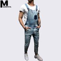 mamadeira masculina venda por atacado-Moomphya 2019 novo bolso no peito solto homens jeans macacão Streetwear Hip Hop azul biker jeans homens Romper calças jeans calças de carga