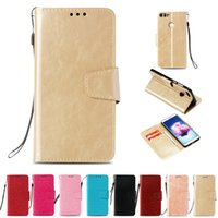 Wholesale leather smart phone wallet for sale - Group buy Retro PU Wallet Case For Huawei P Smart Case Cover for Huawei Enjoy S Flip Cover Kickstand Phone Cases with Card Pocket