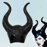 siyah başlıklar toptan satış-Maleficent Kornalar Cosplay Maske Şapka Kara Kraliçe Kask Cap başlıkiçi Cadılar Bayramı Masquerade Partisi aksesuvar Cadılar Bayramı Partisi