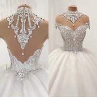 vestidos feitos diamantes venda por atacado-Luxo Vestidos de casamento Ball vestido Sheer mangas Tulle diamante de cristal frisada Plus Size Vestidos Princesa nupciais Casamento Puffy Custom Made
