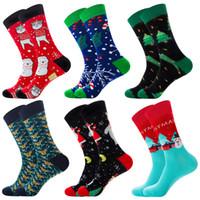 erkek çorapları toptan satış-Noel Baba Sonbahar Kış Sıcak Diz Yüksek Scok ile Mens Yeni Tasarımcı Sock için Noel Çorap