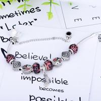 chamilia kristallschmucksachen großhandel-(Mit box) SPC Mode Europäischen Stil Silber Farbe Kristall Charme Armband mit Chamilia Perlen Armband Schmuck