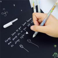 bolígrafos de gel blanco al por mayor-0.8mm Color de Tinta Blanca Álbum de Fotos Bolígrafo de Gel Papelería Oficina Aprendizaje Lindo Bolígrafo Unisex Regalo para Niños
